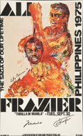 Boxing Collectibles:Autographs, Muhammad Ali and Joe Frazier Multi Signed Fight Poster Print....