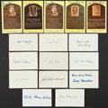 Baseball Collectibles:Others, Baseball Notables Signed Index Cards and Postcards Lot of 16....