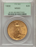 Saint-Gaudens Double Eagles: , 1909 $20 MS60 PCGS. PCGS Population (67/1660). NGC Census:(67/947). Mintage: 161,282. Numismedia Wsl. Price for problem fr...