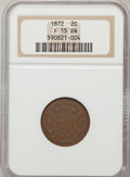 Two Cent Pieces: , 1872 2C Fine 15 NGC. NGC Census: (24/199). PCGS Population(17/217). Mintage: 64,000. Numismedia Wsl. Price for problem fre...