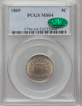Shield Nickels: , 1869 5C MS64 PCGS. CAC. PCGS Population (139/65). NGC Census:(148/105). Mintage: 16,395,000. Numismedia Wsl. Price for pro...