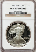 Modern Bullion Coins: , 1987-S $1 Silver Eagle PR70 Ultra Cameo NGC. NGC Census: (398).PCGS Population (178). Mintage: 904,732. Numismedia Wsl. Pr...