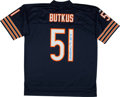 Football Collectibles:Uniforms, Dick Butkus Signed Football and Jersey Lot of 2....
