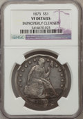 Seated Dollars: , 1873 $1 -- Improperly Cleaned -- NGC Details. VF. NGC Census:(1/137). PCGS Population (2/190). Mintage: 293,000. Numismedi...