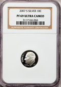 Proof Roosevelt Dimes, 2007-S 10C Silver PR69 Ultra Cameo NGC. PCGS Population (1566/291).Numismedia Wsl. Price for problem f...