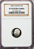 Proof Roosevelt Dimes, 2007-S 10C Silver PR70 Ultra Cameo NGC. NGC Census: (0). PCGSPopulation (291). Numismedia Wsl. Price for problem free NGC...