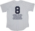 Baseball Collectibles:Uniforms, Yogi Berra Signed New York Yankees Jersey....