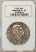 Coins of Hawaii: , 1883 $1 Hawaii Dollar AU50 NGC. NGC Census: (21/157). PCGSPopulation (58/194). Mintage: 500,000. (#10995)...