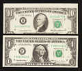 Error Notes:Error Group Lots, Fr. 1924-F $1 1999 Federal Reserve Note. About Uncirculated;. Fr.2027-B $10 1985 Federal Reserve Note. About Uncirculated....(Total: 2 notes)