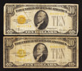 Small Size:Gold Certificates, Fr. 2400 $10 1928 Gold Certificates. Two Examples. Very Good or Better.. ... (Total: 2 notes)