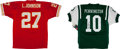 Football Collectibles:Uniforms, Chad Pennington and Larry Johnson Signed Football Jerseys Lot of 2....