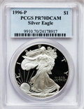 Modern Bullion Coins: , 1996-P $1 Silver Eagle PR70 Deep Cameo PCGS. PCGS Population (413).NGC Census: (2460). Numismedia Wsl. Price for problem ...