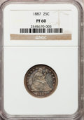 Proof Seated Quarters: , 1887 25C PR60 NGC. NGC Census: (4/204). PCGS Population (3/222).Mintage: 710. Numismedia Wsl. Price for problem free NGC/P...