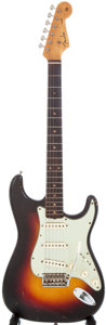 Musical Instruments:Electric Guitars, 1961 Fender Stratocaster Sunburst Solid Body Electric Guitar,Serial # 66400....