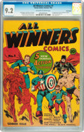 Golden Age (1938-1955):Superhero, All Winners Comics #1 Billy Wright pedigree (Timely, 1941) CGC NM- 9.2 Off-white to white pages....
