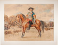 Books:Original Art, Maurice Leloir. Original Watercolor of a Mounted French Officer ona Battlefield. [N.p., n.d., ca. 1910]. A handsome and viv...