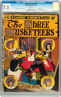 Classic Comics #1 The Three Musketeers - First Edition (Elliott, 1941) CGC VF- 7.5 Off-white pages