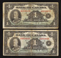 Canadian Currency: , BC-1 $1 1935, Two Examples.. ... (Total: 2 notes)