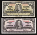 Canadian Currency: , BC-24c $10 1937. BC-25b $20 1937. ... (Total: 2 notes)