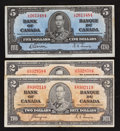 Canadian Currency: , BC-22c $2 1937, Two Examples;. BC-23b $5 1937. ... (Total: 3 notes)