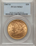 Liberty Double Eagles: , 1907-S $20 MS63 PCGS. PCGS Population (791/309). NGC Census: (697/282). Mintage: 2,165,800. Numismedia Wsl. Price for probl...