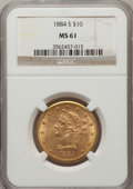 Liberty Eagles: , 1884-S $10 MS61 NGC. NGC Census: (152/57). PCGS Population (83/92).Mintage: 124,250. Numismedia Wsl. Price for problem fre...