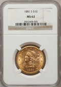 Liberty Eagles: , 1881-S $10 MS62 NGC. NGC Census: (508/32). PCGS Population(349/45). Mintage: 970,000. Numismedia Wsl. Price for problem fr...