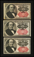 Fractional Currency:Fifth Issue, Three Fr. 1309 25¢ Fifth Issue Notes Extremely Fine or Better.. ...(Total: 3 notes)