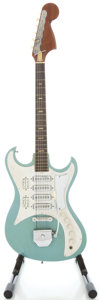 Musical Instruments:Electric Guitars, 1960's Teisco 4 Pickup Daphne Blue Solid Body Electric Guitar....