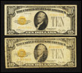 Small Size:Gold Certificates, Fr. 2400 $10 1928 Gold Certificates. Two Examples. Good-Very Good or Better.. ... (Total: 2 notes)