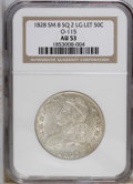Bust Half Dollars: , 1828 50C Square Base 2, Small 8, Large Letters AU53 NGC. O-115 NGCCensus: (0/0). PCGS Population (16/106). (#6151)...
