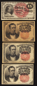 Fractional Currency:Fifth Issue, Three 10¢ Fifth Issue Notes Very Fine;. Fr. 1267 15¢ Fourth IssueExtremely Fine.. ... (Total: 4 notes)