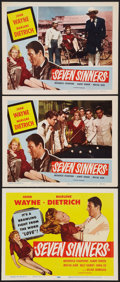 "Movie Posters:Adventure, Seven Sinners (Universal, R-1953). Title Lobby Card and Lobby Cards(2) (11"" X 14""). Adventure.. ... (Total: 3 Items)"