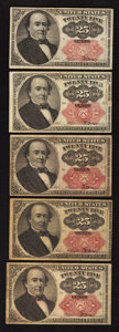 Fractional Currency:Fifth Issue, Five 25¢ Fifth Issue Notes Very Fine.. ... (Total: 5 notes)