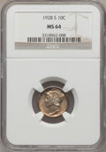 Mercury Dimes, 1928-S 10C Small S MS64 NGC. NGC Census: (57/112). PCGS Population(89/85). Mintage: 7,400,000. Numismedia Wsl. Price for p...