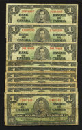 Canadian Currency: , A Well Circulated Group of King George VI $1 Notes.. ... (Total: 10notes)