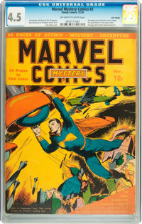Marvel Mystery Comics #2 Billy Wright pedigree (Timely, 1939) CGC VG+ 4.5 Off-white to white pages