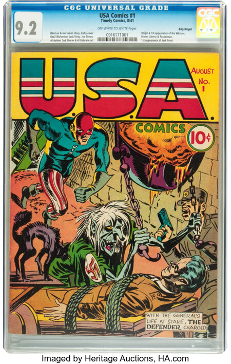 USA Comics #1 Billy Wright pedigree (Timely, 1941) CGC NM- 9.2 Off-white to white pages....