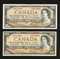 Canadian Currency: , BC-43c $100 1954 Two Examples. ... (Total: 2 notes)