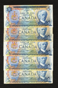 Canadian Currency: , A Quintet of $5 Canadian Notes.. ... (Total: 5 notes)