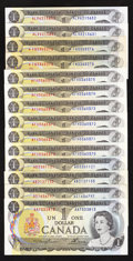 Canadian Currency: , A Better Group of $1 1973 Canadian Notes.. ... (Total: 14 notes)