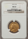 Indian Half Eagles: , 1910 $5 MS63 NGC. NGC Census: (687/297). PCGS Population (485/229).Mintage: 604,250. Numismedia Wsl. Price for problem fre...