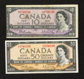 Canadian Currency: , BC-40b $10 1954. BC-42b $50 1954. ... (Total: 2 notes)
