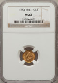 Gold Dollars: , 1854 G$1 Type One MS61 NGC. NGC Census: (788/2113). PCGS Population(167/1039). Mintage: 855,502. Numismedia Wsl. Price for...