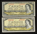 Canadian Currency: , BC-41a $20 1954. BC-41b $20 1954. ... (Total: 2 notes)
