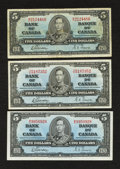 Canadian Currency: , BC-23b $5 1937 Three Examples. ... (Total: 3 notes)