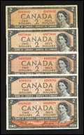 Canadian Currency: , A Quintet of $2 Devil's Face Notes.. ... (Total: 5 notes)