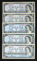 Canadian Currency: , A Selection of $5 1954 Issues.. ... (Total: 5 notes)