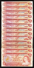Canadian Currency: , A Selection of $2 1974 Canadian Notes.. ... (Total: 13 notes)
