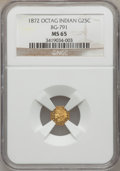 California Fractional Gold: , 1872 25C Indian Octagonal 25 Cents, BG-791, R.3, MS65 NGC. NGCCensus: (7/0). PCGS Population (14/3). (#10618)...